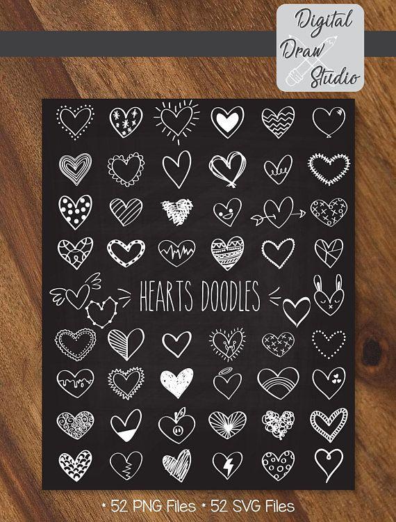 52 White Hearts Outline Clip Art | Hand Drawn Romance Vector Doodles | Scribble Heart Illustration Bundle | Png Eps Pdf Svg