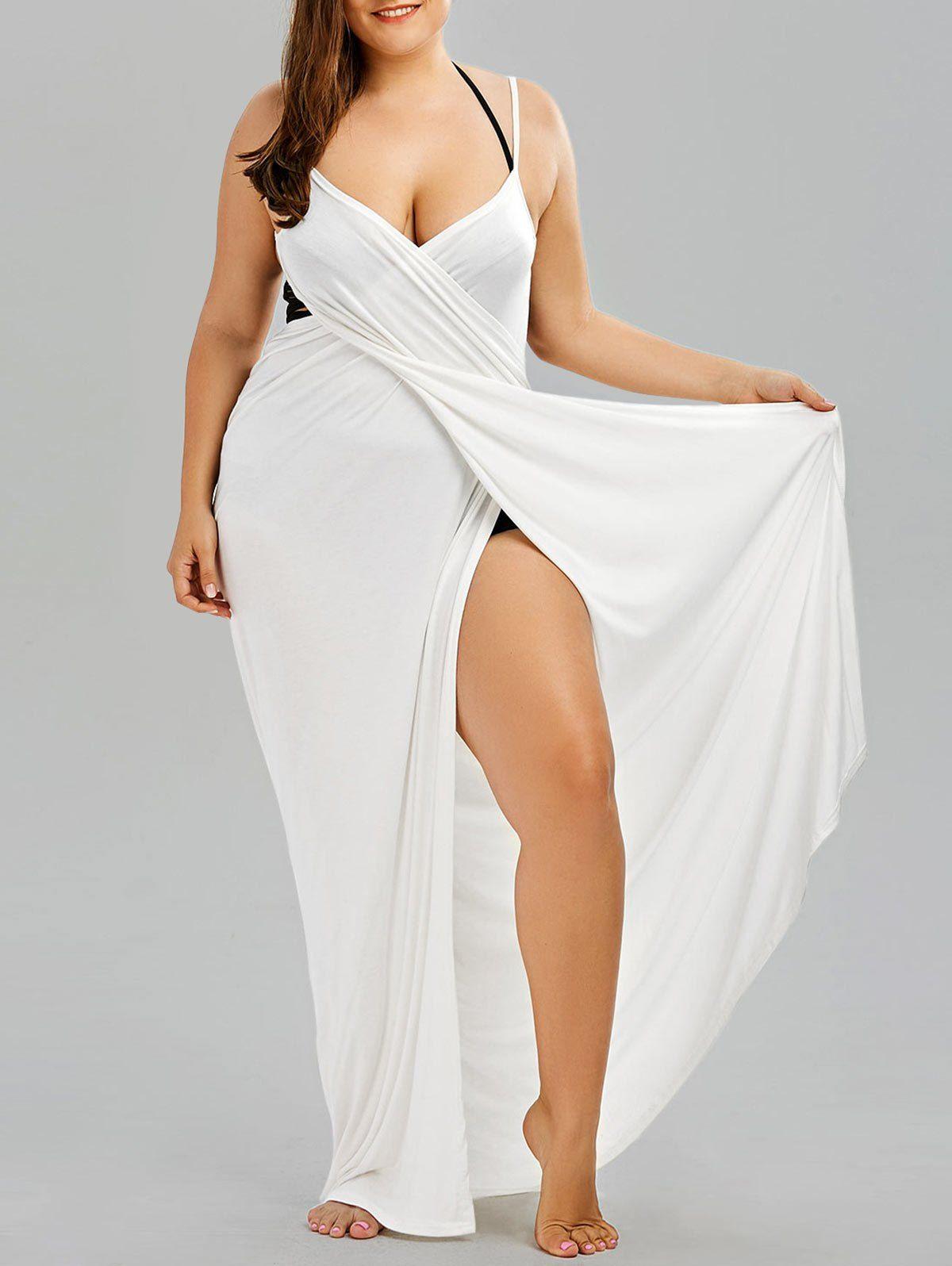 Plus Size Flowy Cover Up Wrap Dress Maxi Dress Cocktail Plus Size Outfits Plus Size Swimwear [ 1596 x 1200 Pixel ]