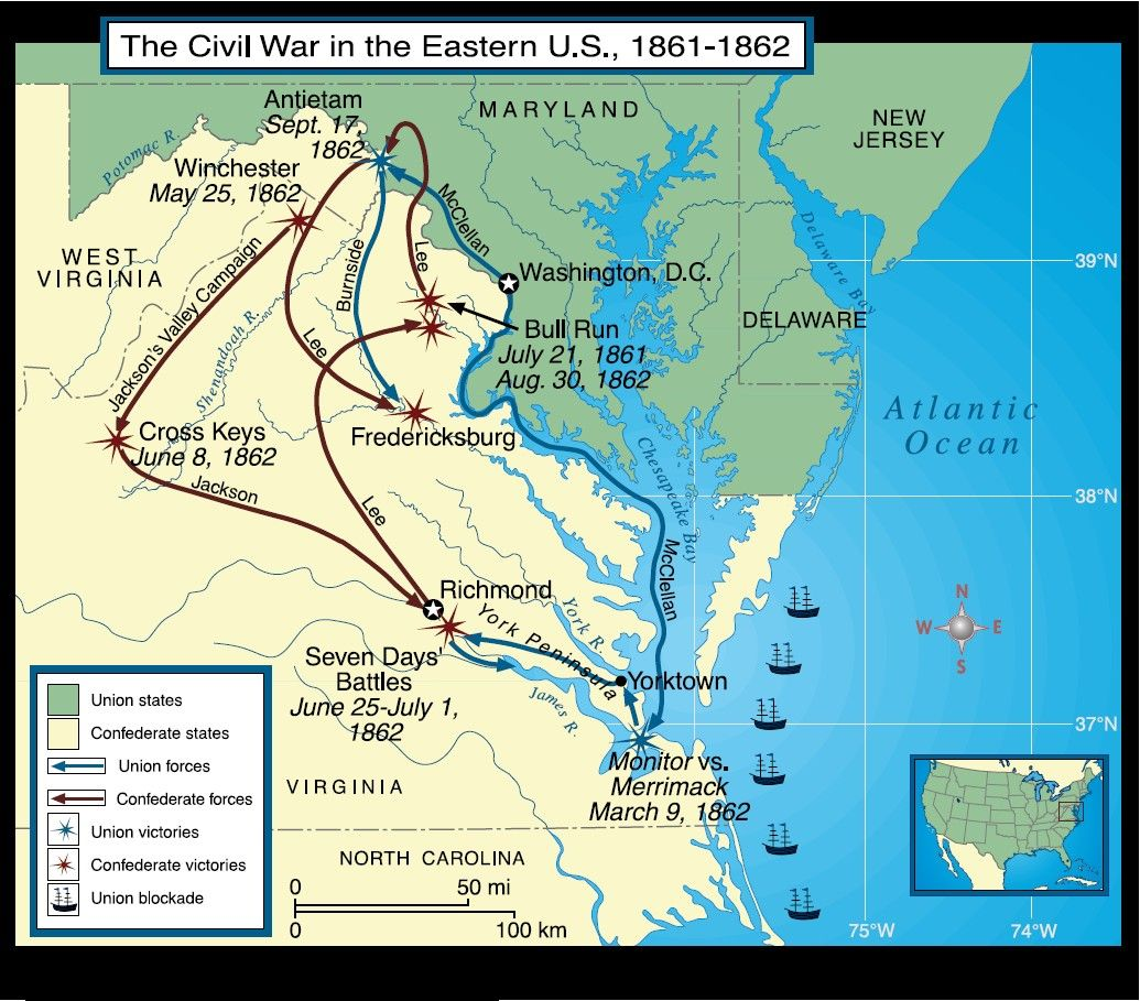 Civil War In The East Jpg Civil War - Map of the us 1861