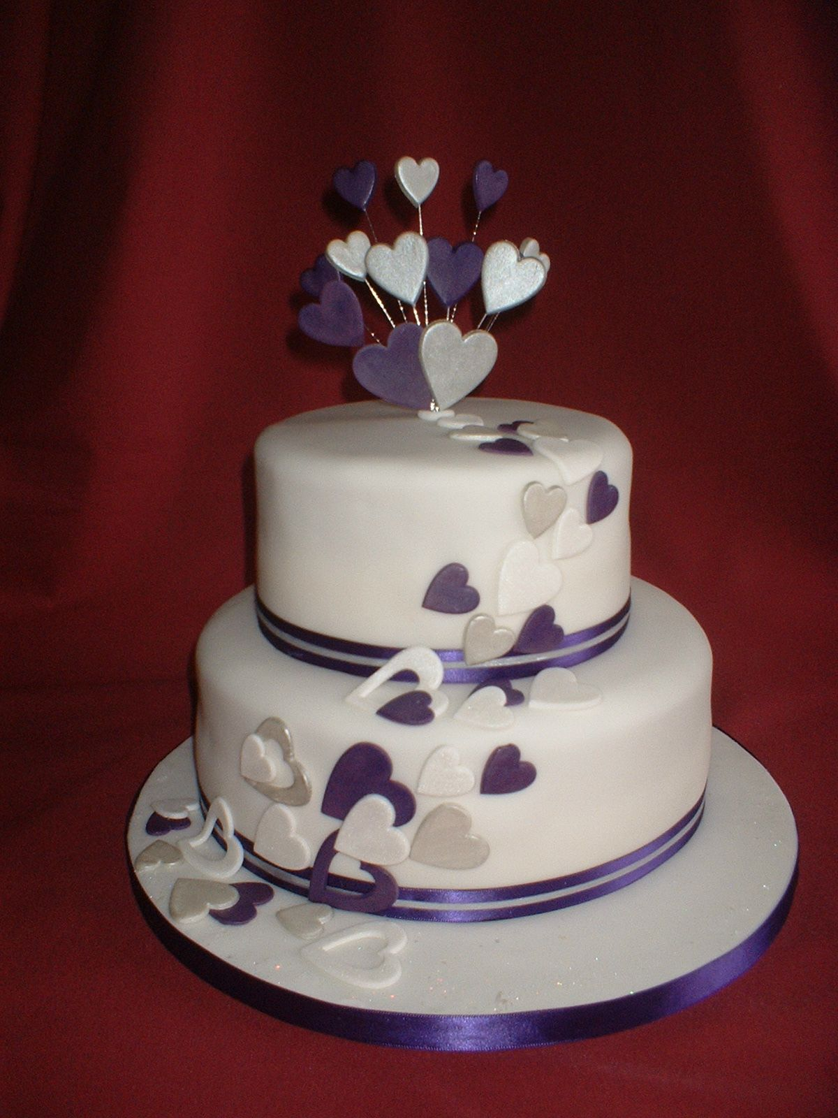 2 Tier Round Sweeping Hearts Wedding Cake Turquoise