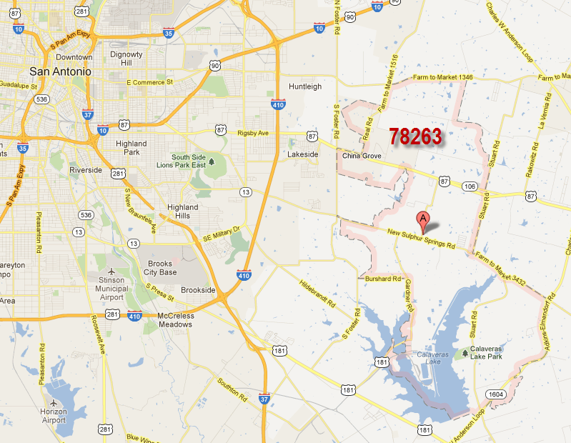 Where 78263 Is Located On The Map In Proximity To Downtown San Antonio Downtown San Antonio China Grove Highland Park