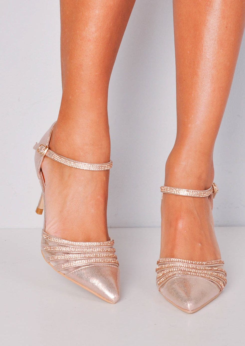 Diamante Mesh Embellished Kitten Court Heels Rose Gold Gold Kitten Heels Kitten Heels Wedding Jeweled Shoes
