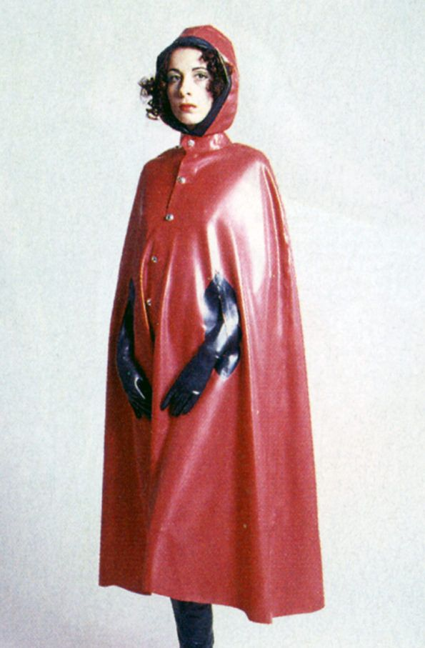 Hooded red rubber cape | Vintage Rubber | Rubber raincoats ...