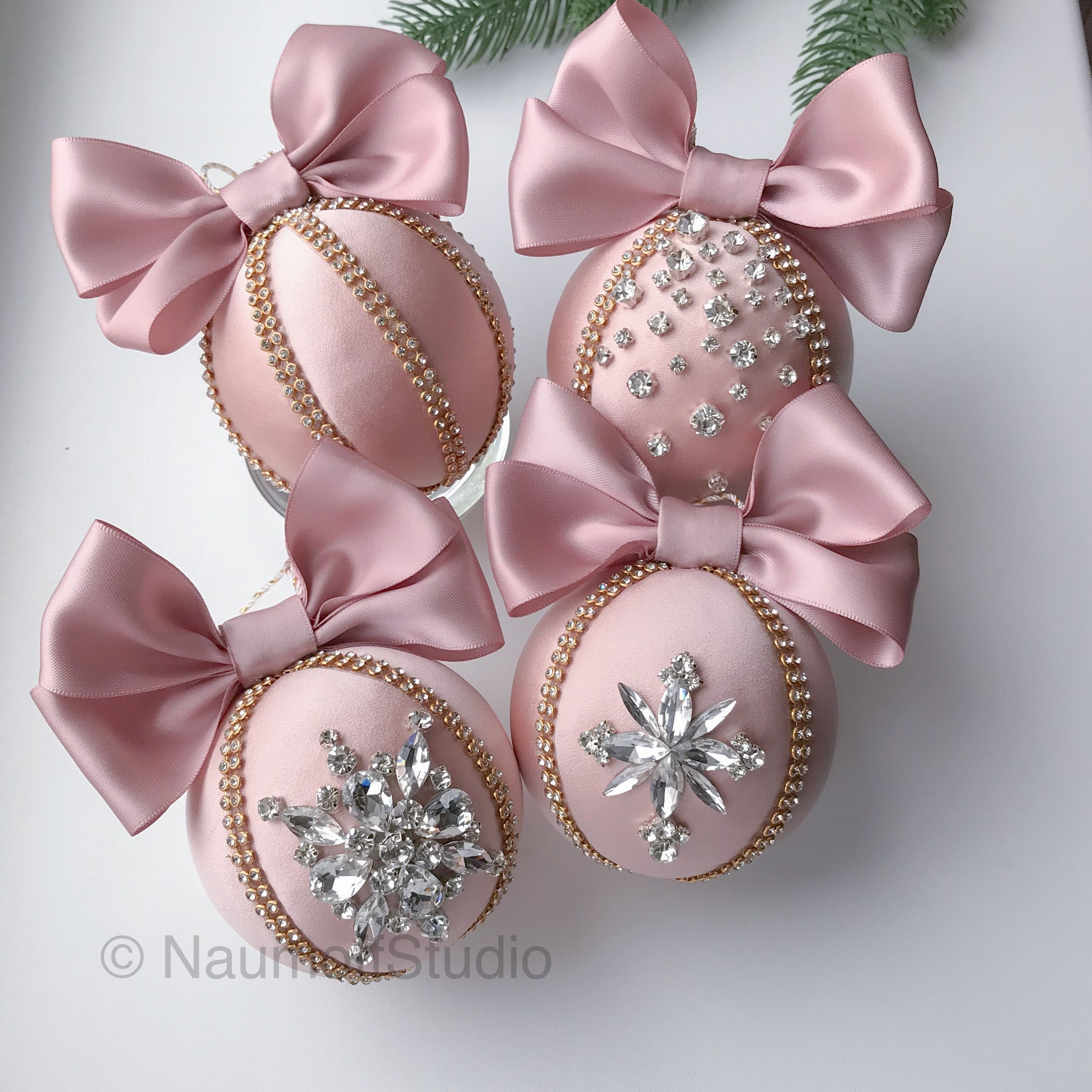 Christmas Rhinestone Ornaments Blush Milkyway Ornament Etsy Pink Christmas Ornaments Christmas Ornaments Christmas Ornament Sets