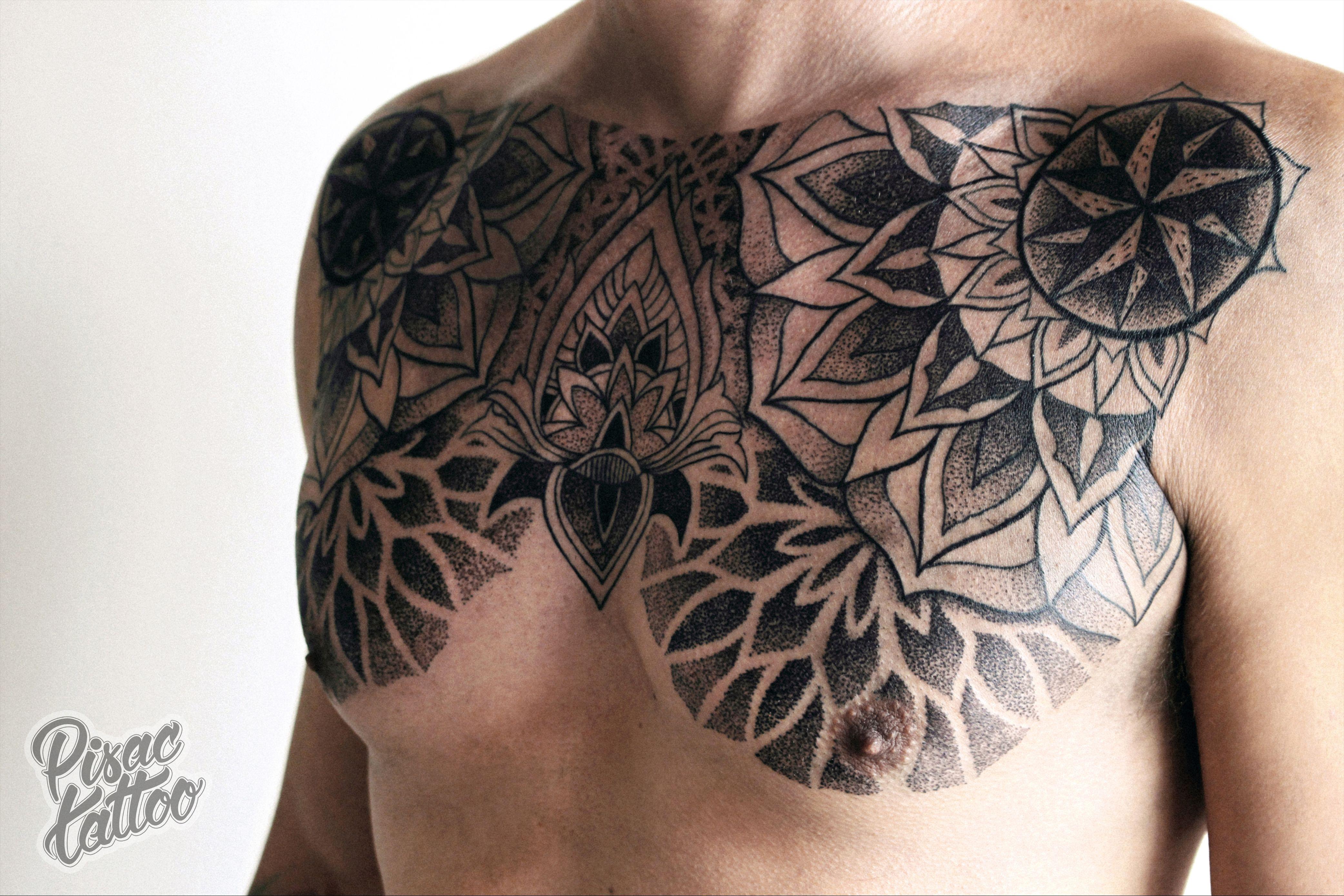 Geometric dotwork chest piece by zak korvin at pisac