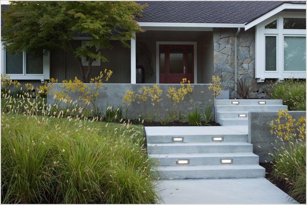 Landscape Modern Concrete Garden Wall Concrete Steps Flagstone Modern Front Yard Front Yard Front Yard Decor