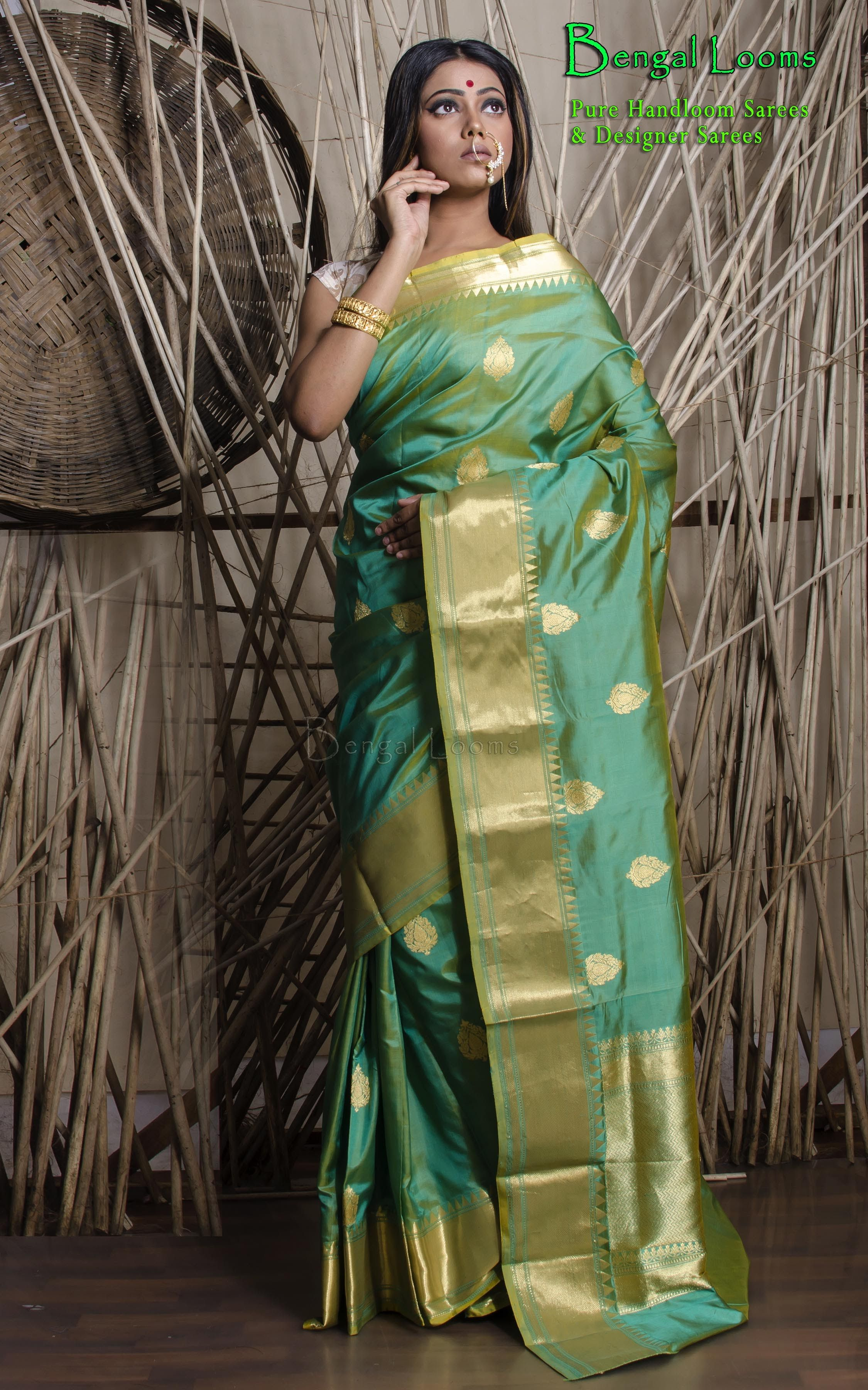 b9ada9e5e9 Beautiful Sea Green Katan Silk Banarasi Saree available for sale from  Bengal Looms.