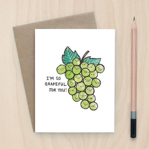 Items similar to Grapeful for You - A2 Greeting Card on Etsy