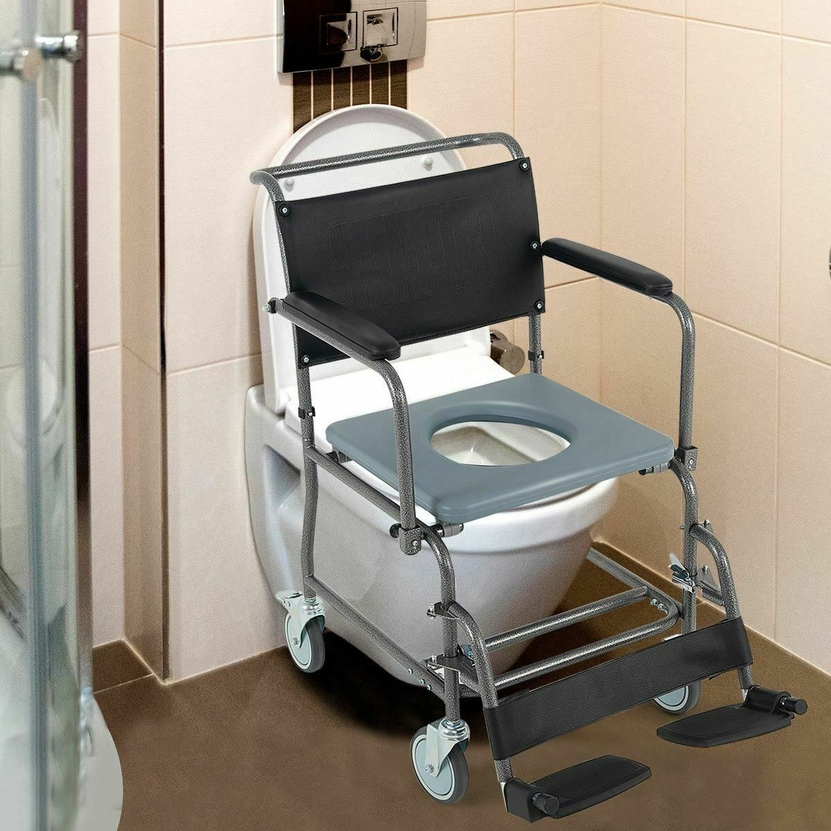 Durable Medical Transport Toilet Commode Wheelchair w