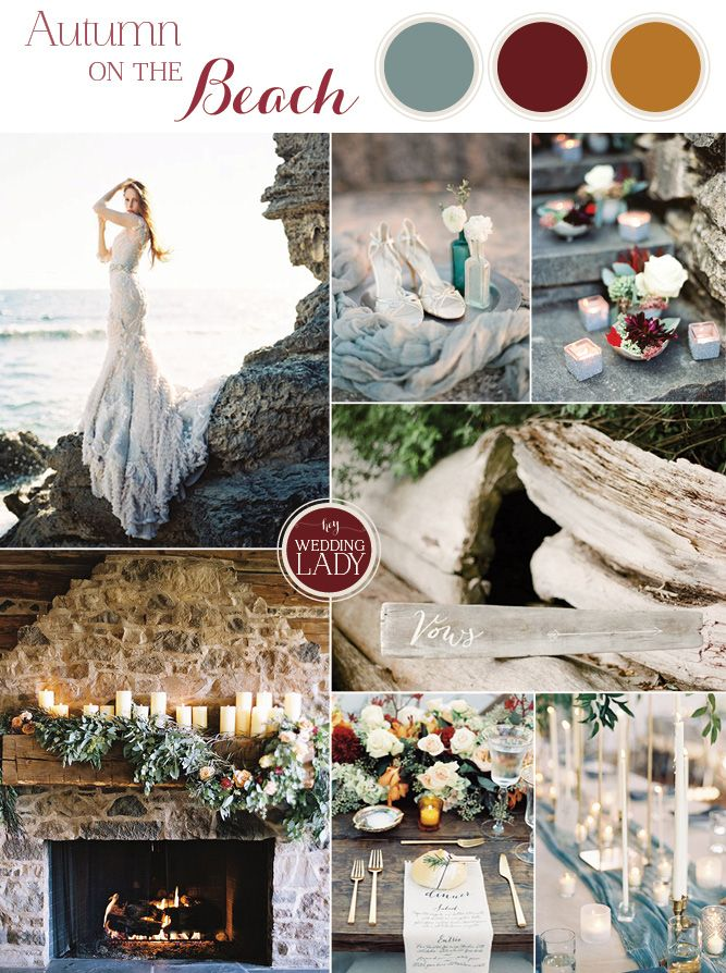 Dramatic Fall Beach Wedding Inspiration Beach Wedding Colors
