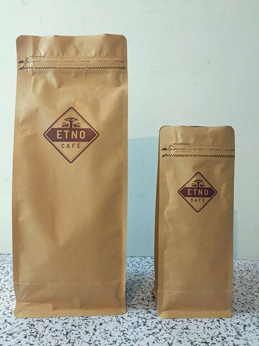 250g And 1kg Kraft Flat Bottom Pouch With Pocket Zipper Printed Coffee Bags Coffee Bag Pouch Bag