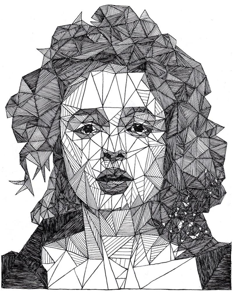 """Disegni Geometrici Bianco E Nero triangulations"""" ritratti in bianco e nero di josh bryan"""