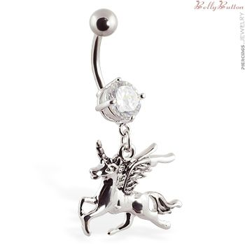 Unicorn Belly Button Rings Belly Button Ring With Dangling Unicorn