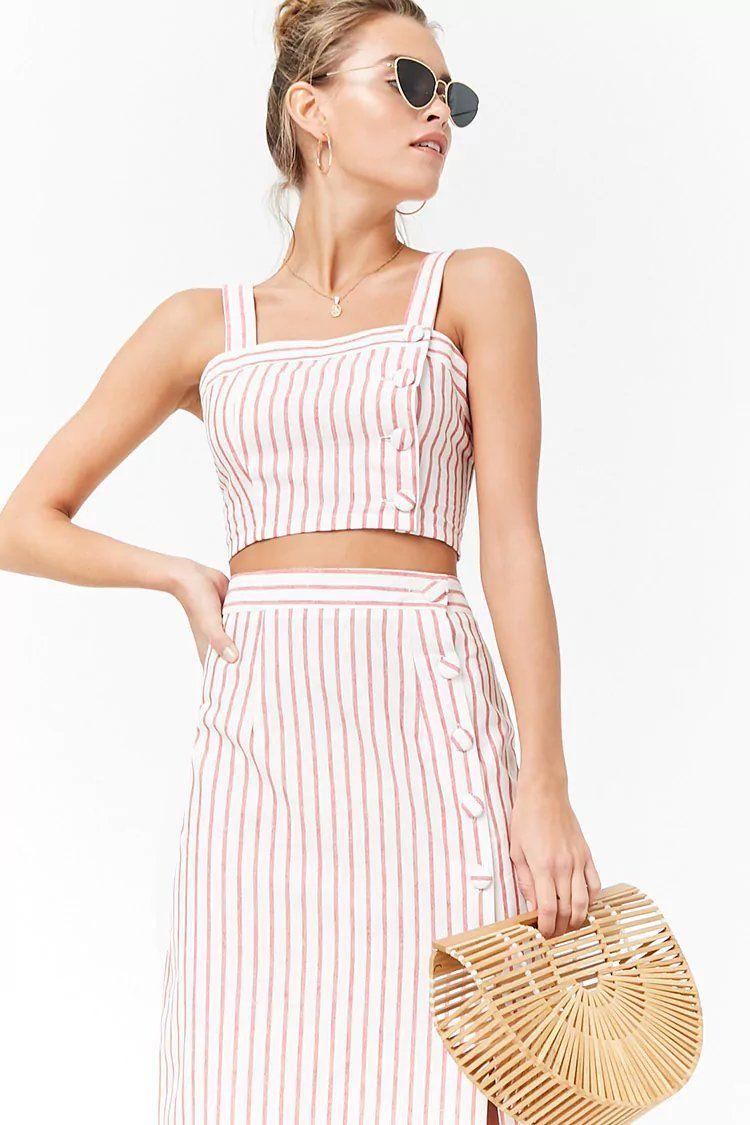 10892d6c78 Striped Linen-Blend Crop Cami