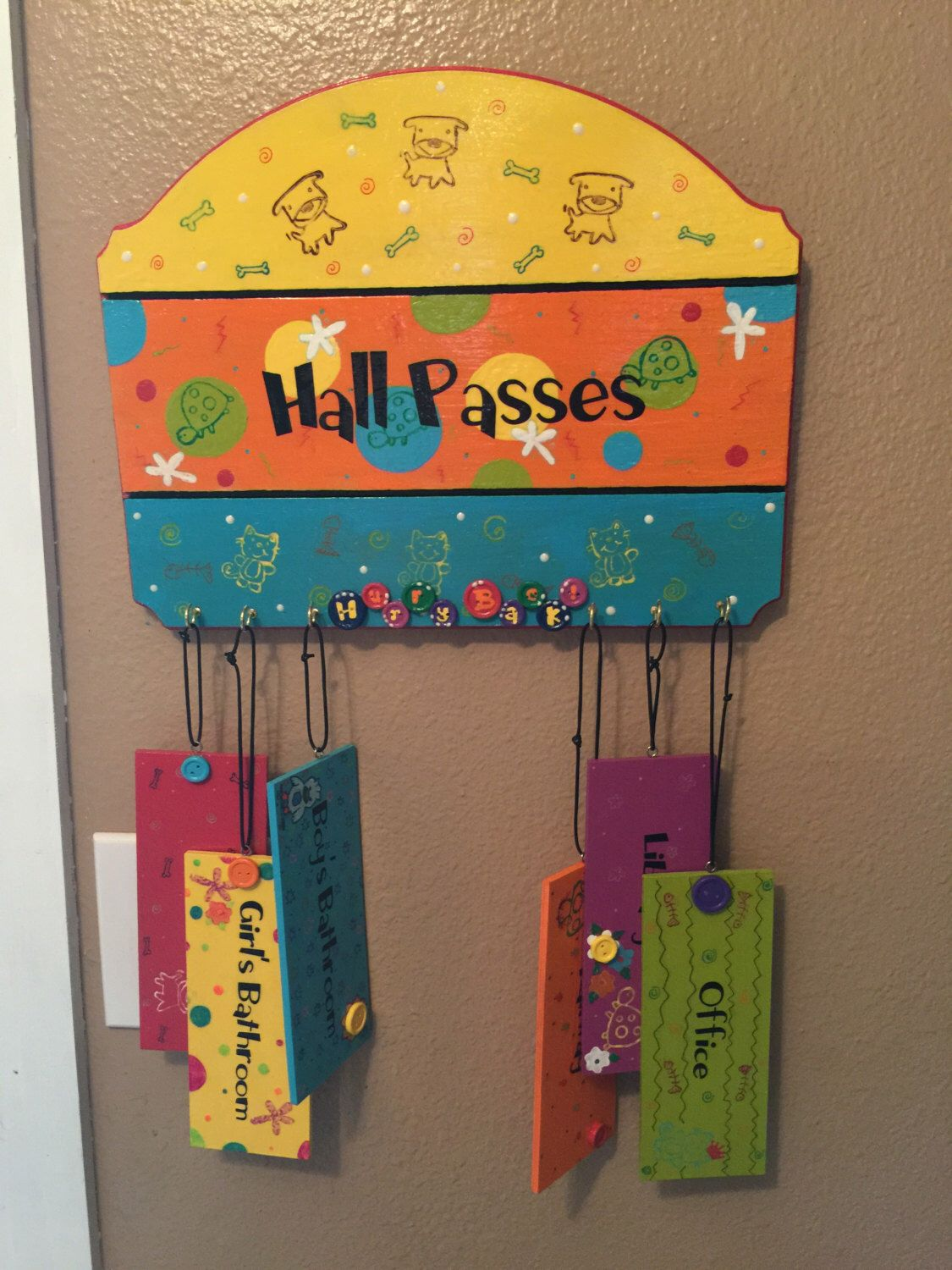 A personal favorite from my Etsy shop https://www.etsy.com/listing/400750993/whimsical-hall-passes