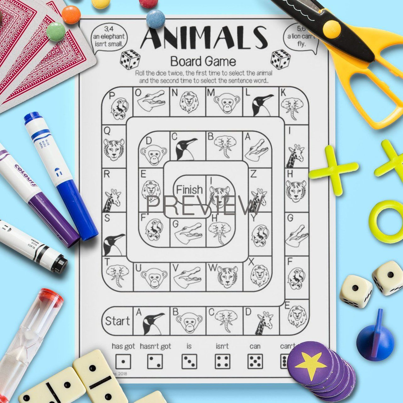 Wild Animal Sentence Board Game