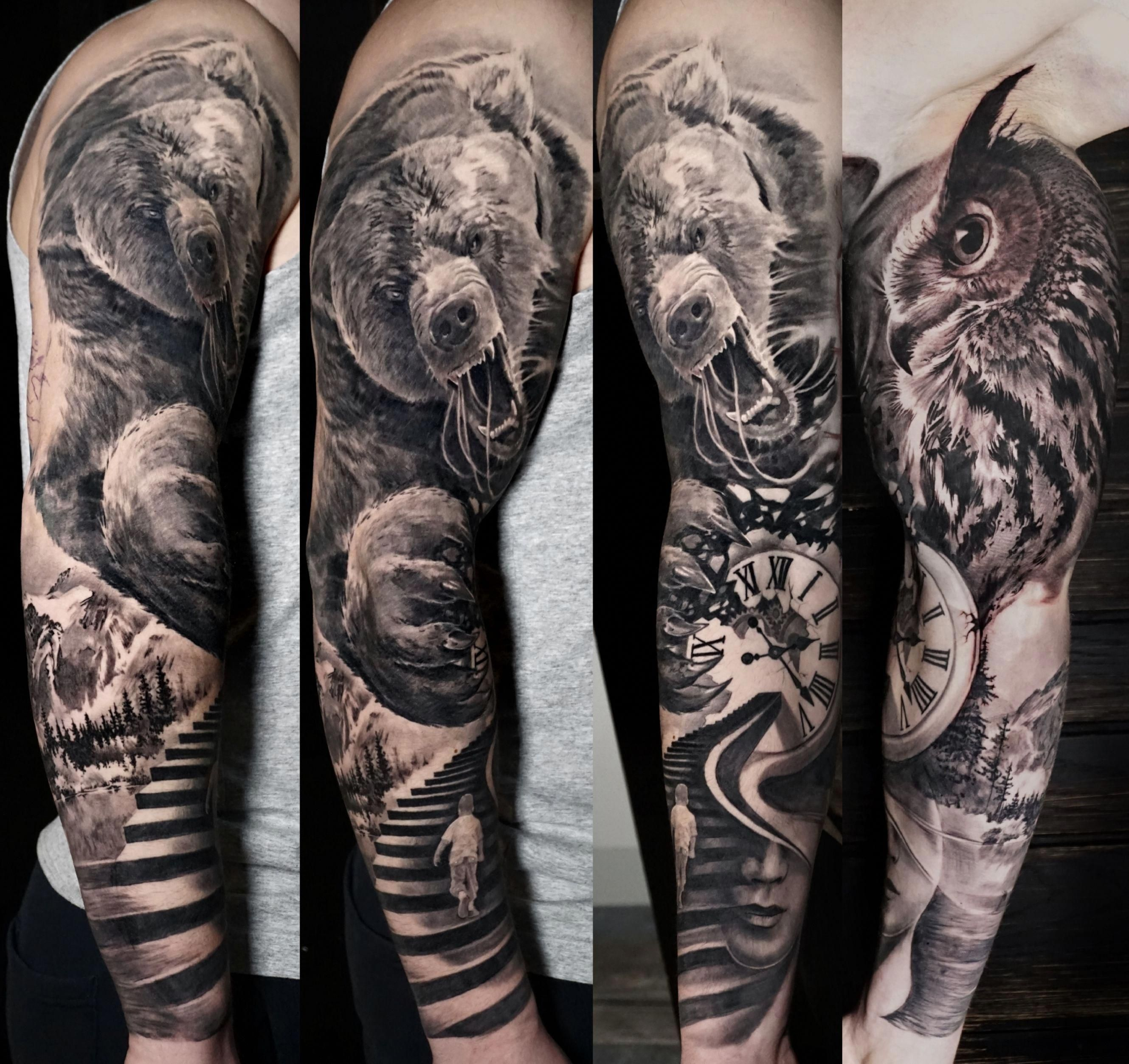 Angry Bear Portrait Tattoo In Black And Grey Realism On Full Sleeve By Alo Loco London Tattoo Artis Black Sleeve Tattoo Full Sleeve Tattoos Half Sleeve Tattoo
