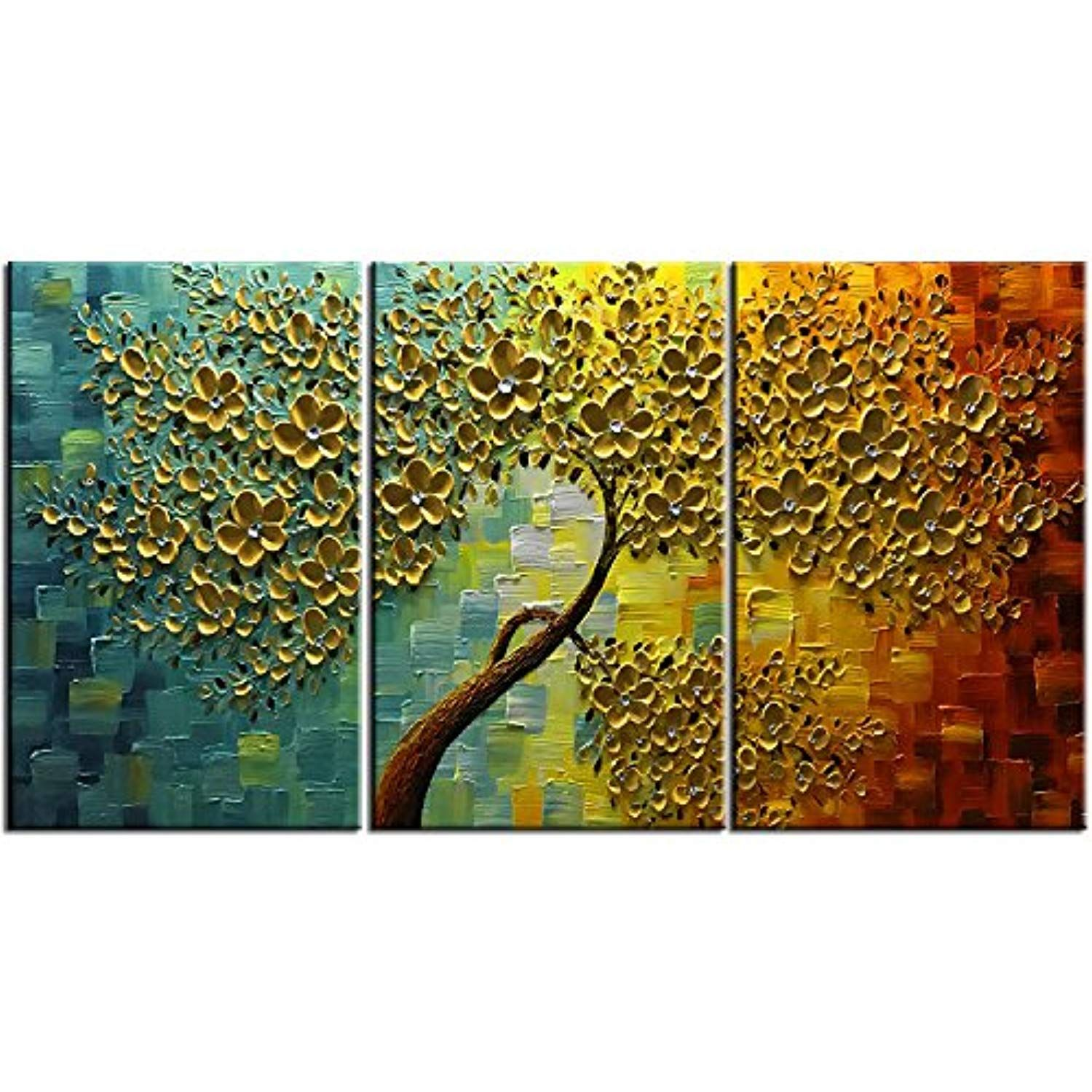 Baccow 28 20 3 Hand Painted 3 Piece Wall Art 3d Oil Painting On Canvas Palette Knife Flower Trees Pa Texture Painting On Canvas Tree Painting Canvas Painting