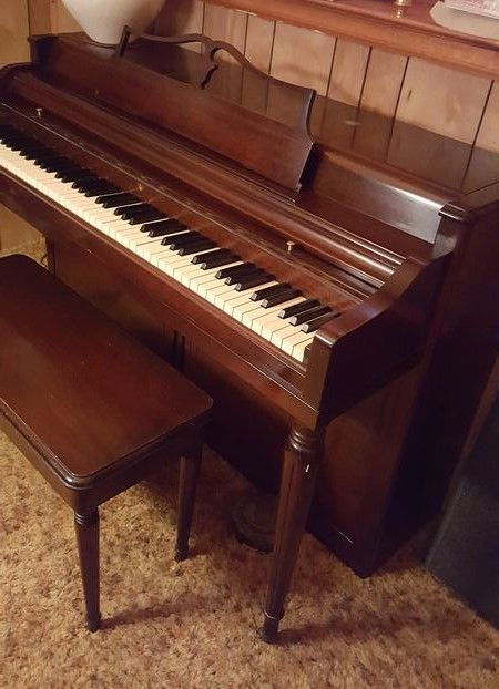 Wurlitzer Piano In A Cherry Cabinet With Matching Storage Piano
