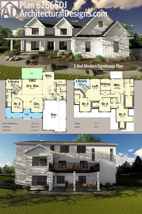 Plan 62665DJ: 5 Bedroom Modern Farmhouse Plan | Modern ...
