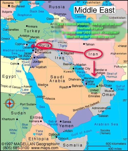 Irans route to the Mediterranean US, Global, Civic, Travel and - best of world map hungary syria