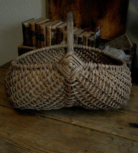 Antique Primitive Old Early Dry Patina Splint Farm Buttock Gizzard Basket ...~♥~