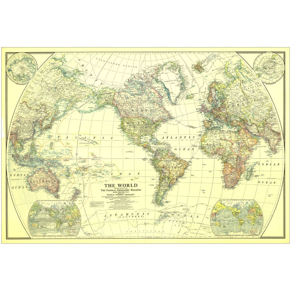 1922 World Map | National geographic, Decorating and House