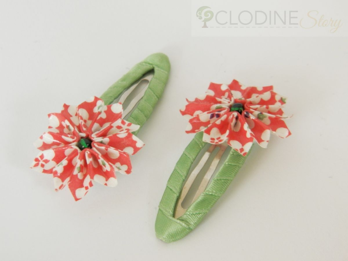 Beautiful Hair Clips With Origami Flowers Each Flower Is Made With