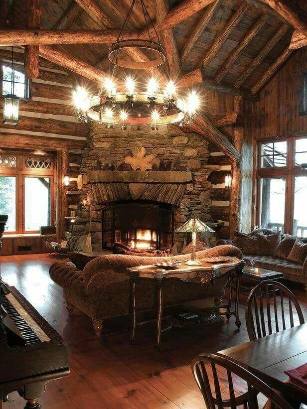 Гостиная в дереве | дизайн и интерьер | Pinterest | Cabin, Logs and ...