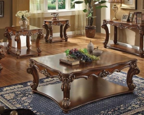 Acme Furniture Vendome 3 Piece Occasional Table Set In Cherry