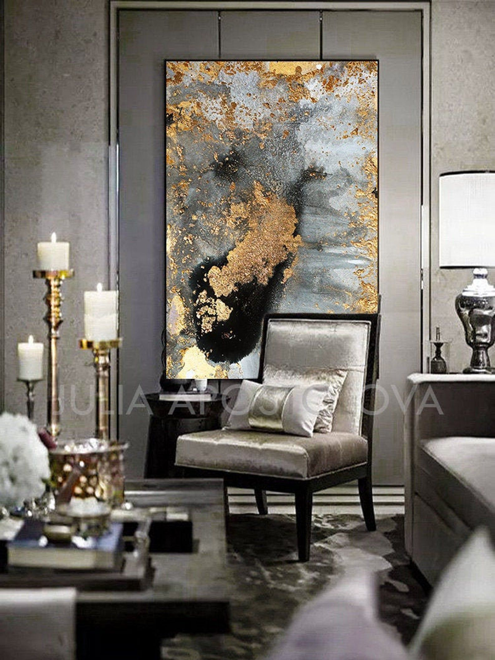 Grey Gold Black & Gold Leaf Large Luxury Wall Art Canvas Print of Original Watercolor Abstract ...