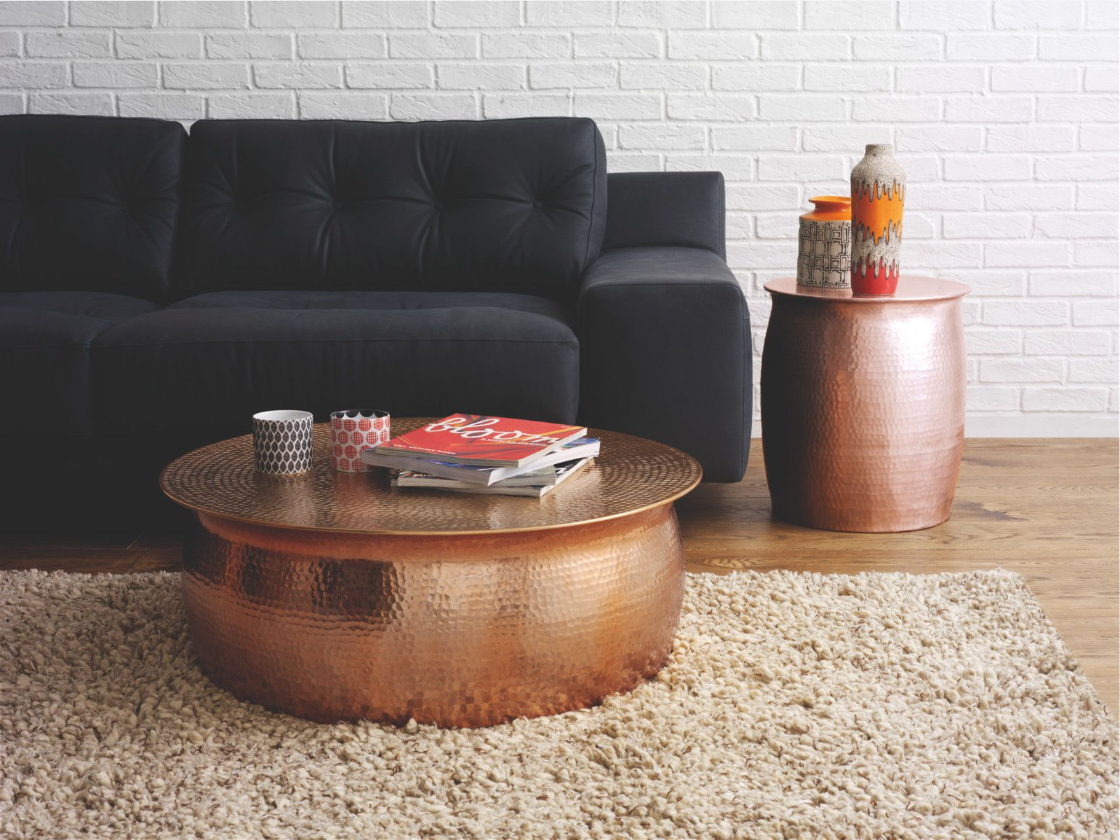 Orrico Rose Gold Hammered Aluminium Coffee Table In 2019