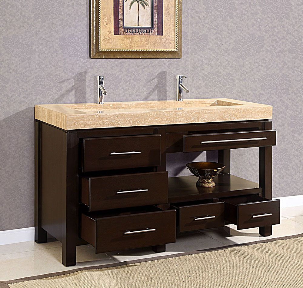 Single bathroom sink with two faucets - 60 King Modern Double Trough Sink Bathroom Vanity Cabinet Bath Furniture