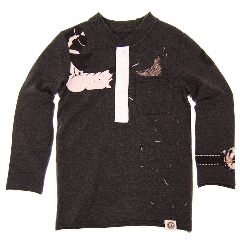 Mini Shatsu Big Bad Wolf Huff Puff Hay Henley Tee Designer Kids