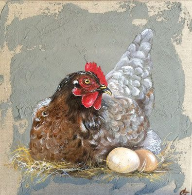 Poule Aux 2 Oeufs Animal Painter Rooster Painting Chicken Painting