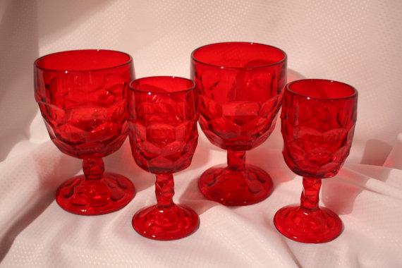 6 Viking Georgian Ruby Red Crystal Glware By Vintagebyviola 55 00