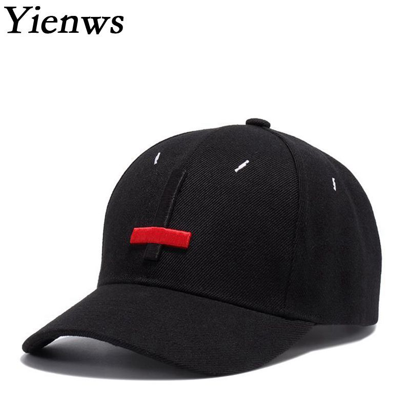Yienws Wholesale Men Embroidery Black Baseball Cap Dad Hats Casual ... 89bbd82eefc