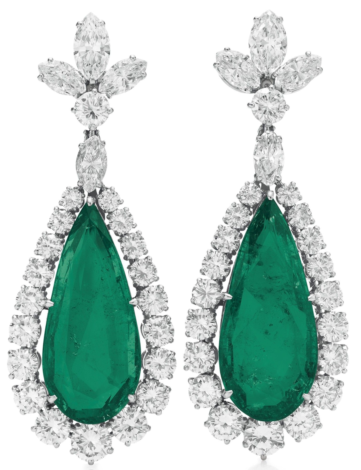 A Pair Emerald Diamond Ear Pendants By Bvlgari Green with