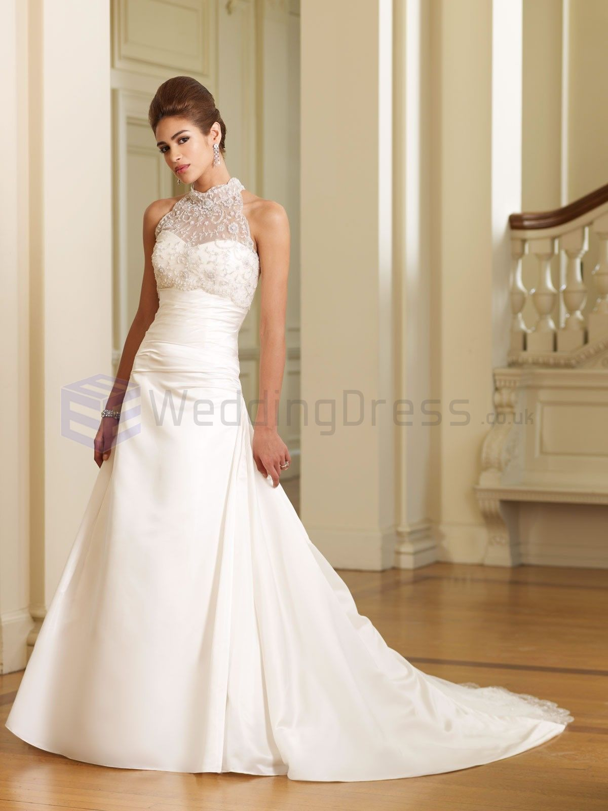 A-line Two-piece Satin Faced Taffeta Ruched Bodice Gathered High ...