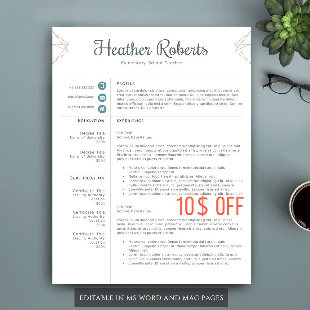 Creative Resume Template For Word  Pages Complete  Pages
