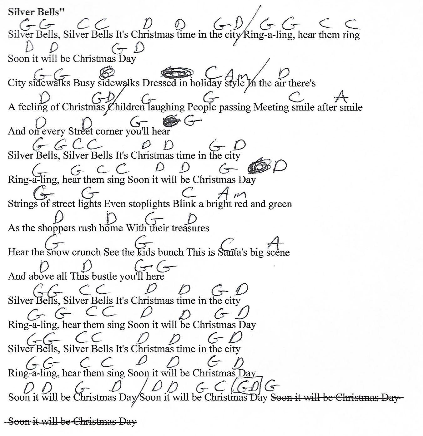 Silver Bells Christmas G Major   Guitar Chord Chart with Lyrics ...