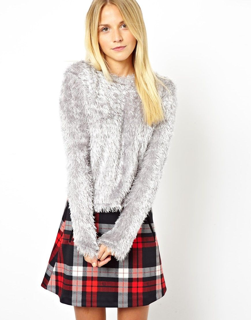 ASOS Cropped Fluffy Sweater - Gray