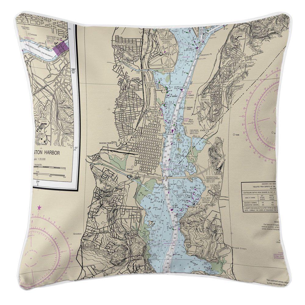 VA: Alexandria, VA Nautical Chart Pillow | Nautical chart ...