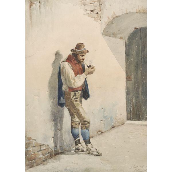 "Jose Juliana Y Albert (Spanish; 1844-1890) Roman pipe smoking man watercolor signed LR.  14 1/2""H x 10""W"