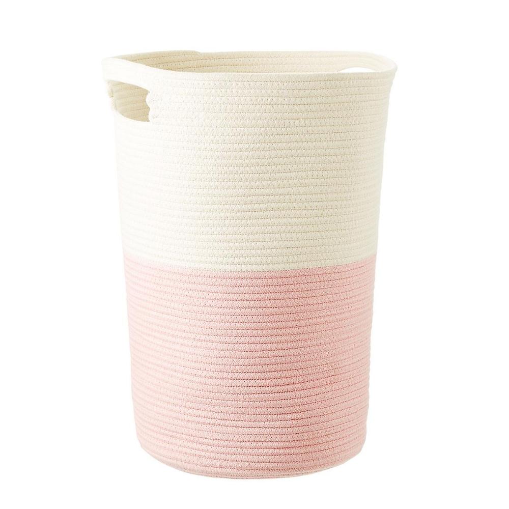 Pink Cotton Rope Laundry Hamper Nursery Hamper Cotton Rope