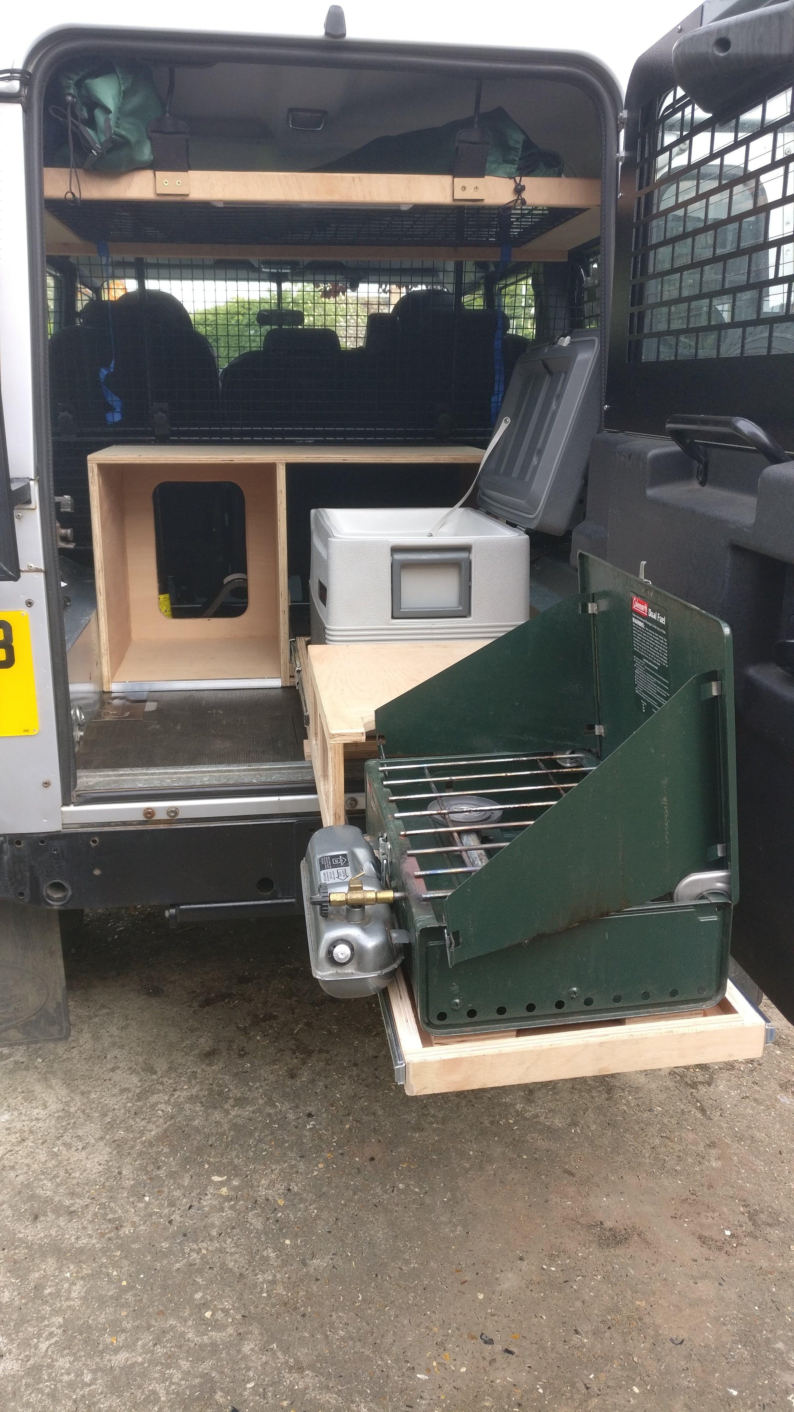 Land Rover Defender 110 custom kitchen slides Defender