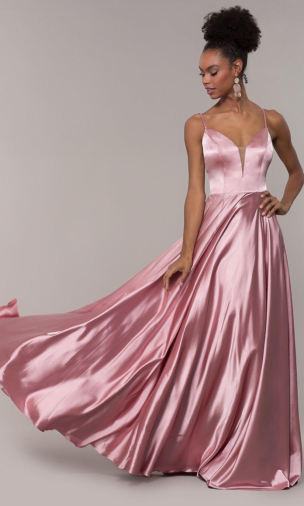 Strappy-Caged-Back Long V-Neck Satin Prom Dress   Prom ...