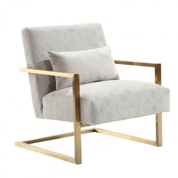 Skyline Modern Accent Chair In Cream Chenille And Gold Metal