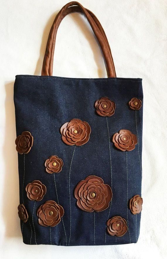 Jeans Handtasche Handtasche Tasche Tote mit Nietengürtel braun Leder Floral Applique Sommer