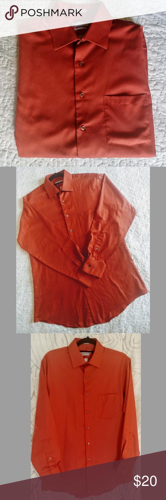 Van Heusen Mens Dress Shirt Van Heusen Mens Dress Shirt Fitten Lux Sateen Size 16 32 33 Burnt Orange Color In Wonderf Mens Shirt Dress Clothes Design Fashion [ 1740 x 580 Pixel ]